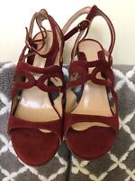 CHELSEA PARIS Womens Accy PF15 Red Shoes Open Toe Suede Heel SZ. 37.5 US 7.5
