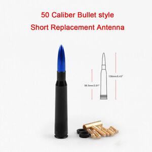 Blue 50 Cal Bullet Antenna Heavy Gauge CNC Machined Billet Short For Ford F150