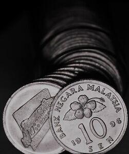 Gem UNC Rouleau (50) Malaisie 1996 10 Sen Pièces ~ Cérémonial Table