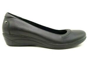 Hush Puppies Black Leather Dress Casual Slip On Wedge Heel Shoes Women's 9 N