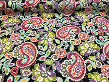 45'' P Kaufmann Ollie Floral Paisley Black Pink Blue Fabric By the Yard