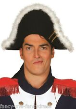 Mens Ladies Black Fur Trim Pirate Napoleon Fancy Dress Costume Outfit Hat