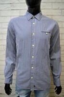 Camicia Blu Uomo CHEVIGNON Taglia M Maglia Camicetta a Quadri Manica Lunga Shirt