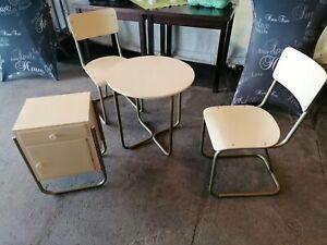 Marcel Breuer Stil Bauhaus 2 x Stuhl ,Tisch , Nachttisch Set Vintage
