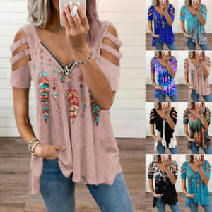 Womens Zipper V Neck T Shirt Casual Floral Blouse Loose Hollow Short Sleeve Tops