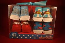 4 Pair Luv Him Baby Infant Booties 0-12 Month Newborn