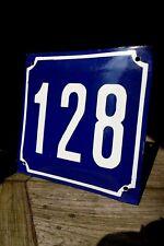 VINTAGE BLUE FRENCH ENAMEL METAL HOUSE FLAT COTTAGE NUMBER ''128'' SIGN PLAQUE