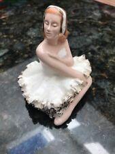 """Vintage Ballerina Ceramic Figurine with Gold Embellished Tutu 3-1/2"""" x 3-1/2"""" DR"""