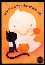 Halloween Card Black Cat Ghost Pumpkins Candy - Halloween Greeting Card - NEW