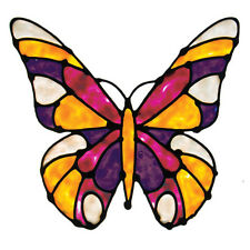 STAINED GLASS BUTTERFLY Window Decal Room Decor Stickers Decoration Pink Purple