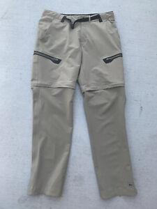 REI Hiking Casual Nylon Cargo Convertible Pants Shorts Beige Mens M 32