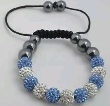 CRYSTAL BRACELET SHAMBALLA BLUE AND WHITE WEDDING PROM BIRTHDAY mum bridel