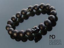 Men's Onyx Matte Skull Bracelet with Swarovski Black Crystal 6-9inch Elasticated