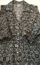 Coldwater Creek Black and White Medallion Print Blouse Top 2x