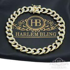 """Mens Cuban Miami Link Bracelet 14k Gold Over Solid 925 Sterling Silver 8.5"""" Long"""