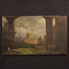 Dipinto antico olio su tela quadro paesaggio rovine antiquariato arte 800 XIX