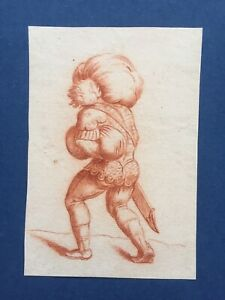 Antique 18th century old master sanguine drawing, italian school