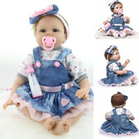 "55cm 22"" Lifelike Baby Girl Reborn Doll Toddler Handmade Vinyl Silicone Kids Toy"