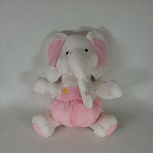Puffalump? Type Elephant Pink White Baby Toy Plush Stuffed Nylon *Read*