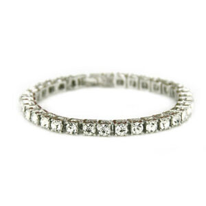 14k White Gold ICED Bling Out Lab Diamond 1 Row Gold Chain Icy Tennis Necklace