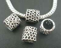 50PCs Dotted Tube Beads Fit European Charm Bracelet