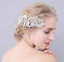 Pearl Con Perline Copricapo DIAMANTE NUZIALI dei Capelli Pettine Cristallo Matrimonio Sposa