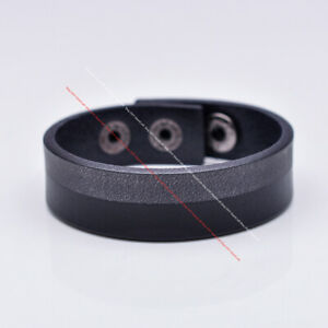 Biker Quality Leathercraft Black Veg Tan Leather Bracelet Wristband Cuff Bangle