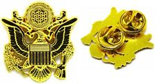 """Us Army Officer Cap Eagle Badge Insignia Gold 1 5/8"""" Pin Lapel Hat Device"""