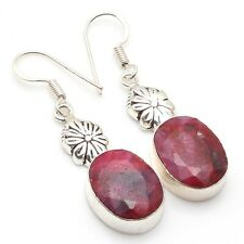 """Plated Dangle Earring 1.8"""", S-12506 Ruby Faceted & 925 Silver"""