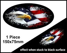 Oval FADE TO BLACK American Eagle & US USA Flag vinyl car sticker Decal 150mm