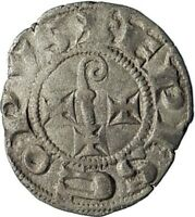 1275AD FRANCE Cahors Medieval Genuine Antique Silver French Coin w CROSS i74581