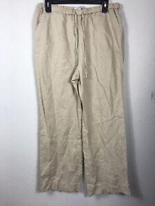 Chaus Women Casual Linen Pants Size M Beige