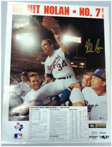 Nolan Ryan signed Texas Rangers 24x36 autographed Poster BAS Beckett COA