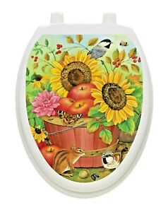 Toilet Tattoos Vinyl Removable Lid Decoration Reusable  Artistic Fall Basket
