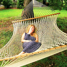 "79""x 59"" 2 Person Patio Cotton Rope Swing Double Hammock Hanging Comfortable EK"