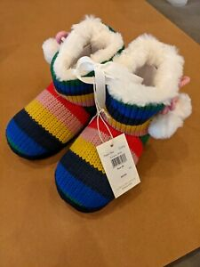 New NWT Mini Boden Knitted Slipper Boots rainbow multi size 28