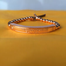 Women's Rose Gold Tone Plated Beaded Engraved Plaque Leather Stretch Bracelet