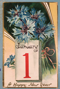 Antique Tuck's NEW YEARS Greeting Postcard Vintage Embossed Early Collection