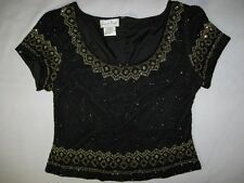 VTG 1980's LAURENCE KAZAR BLACK GOLD BEADED SEQUIN SILK TROPHY TOP INDIA XL