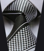 Mens Chequered Tie -Black & White Silver Stripe- SALE Silk Wedding Necktie Gift