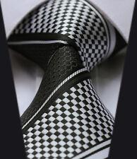 hommes à carreaux Cravate -Noir & Blanc Argent BANDE- SOLDE soie mariage cadeau
