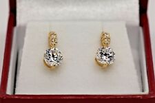 14K Solid Yellow Gold Earnings With 1.70ct Round Simulated Diamonds