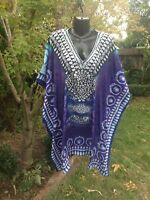 Izabel London Kaftan Dress One Size Sheer Purple Blue Flowing Blouse Resort