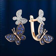 Sapphire Diamond Butterfly Earrings Russian Solid Rose Gold 585 /14k