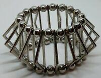 Unusual Vintage Silver Tone Cage Bracelet
