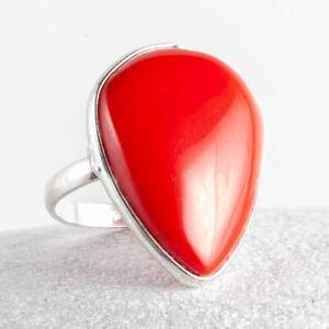 Silber Ring mit Koralle und Onyx  Größe 59