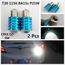 2x Super White BA15S T20 1156 CREE Q5 7W LED Car Reverse Backup Light Bulbs Lamp