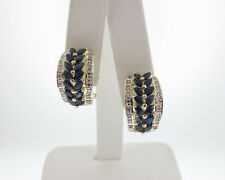 Natural Blue Sapphires Diamonds Solid 14k Yellow Gold Omega Chip Earrings