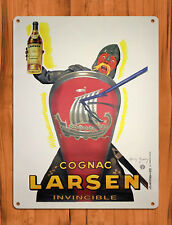 "TIN SIGN  ""Larsen Cognac""  Viking  Liquor Mancave Wall Decor"