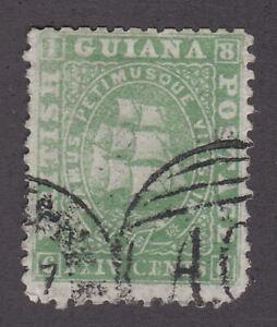 British Guiana 1863 Used Definitive Mast Sailing Ship Green 64c p12.5-13 SG56